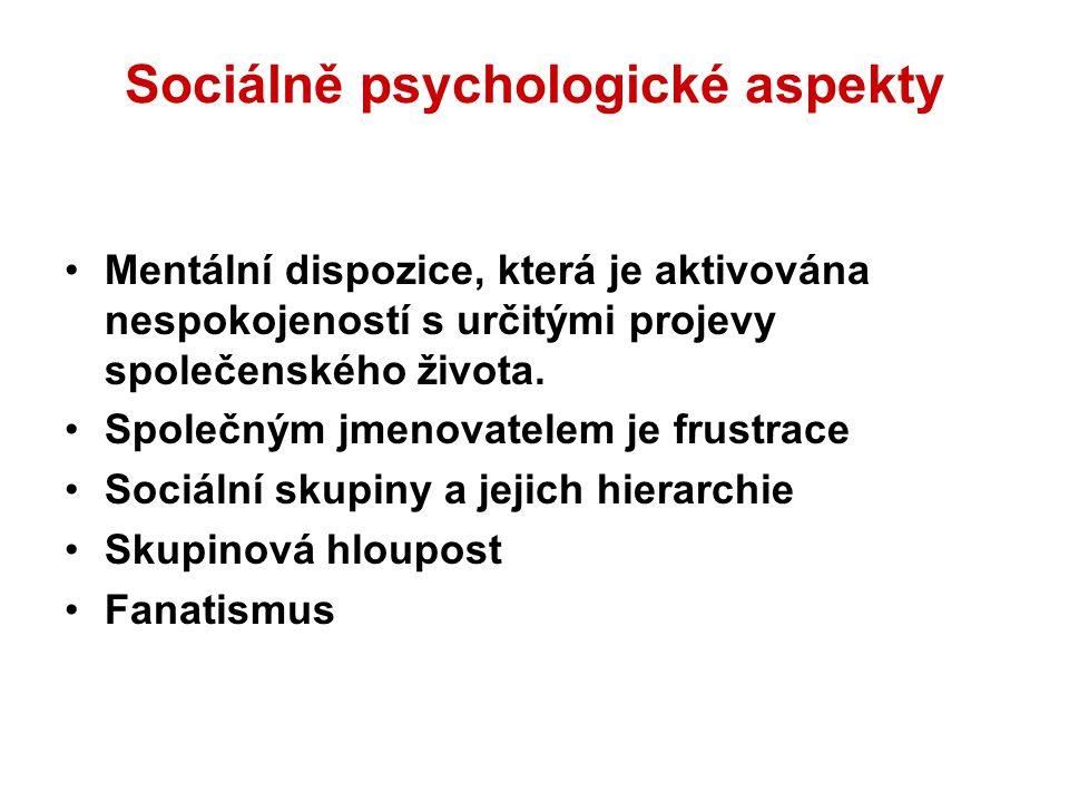 Sociálně psychologické aspekty Mentální dispozice, která je aktivována nespokojeností s určitými projevy společenského života. Společným jmenovatelem