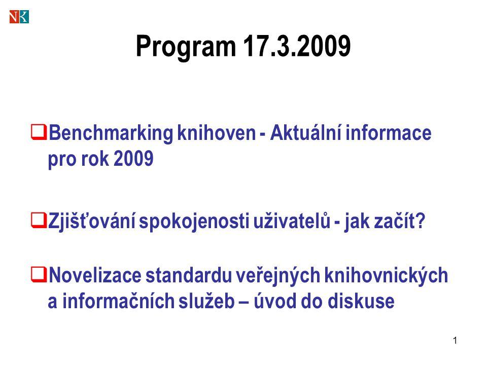 1 Program 17.3.2009  Benchmarking knihoven - Aktuální informace pro rok 2009  Zjišťování spokojenosti uživatelů - jak začít?  Novelizace standardu