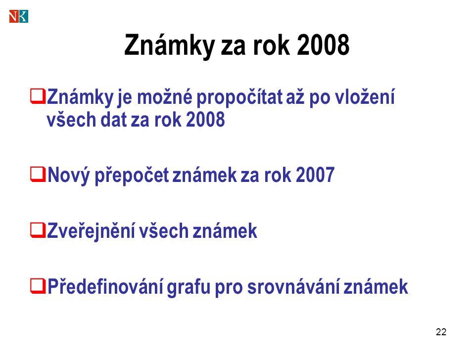 22 Známky za rok 2008  Známky je možné propočítat až po vložení všech dat za rok 2008  Nový přepočet známek za rok 2007  Zveřejnění všech známek 