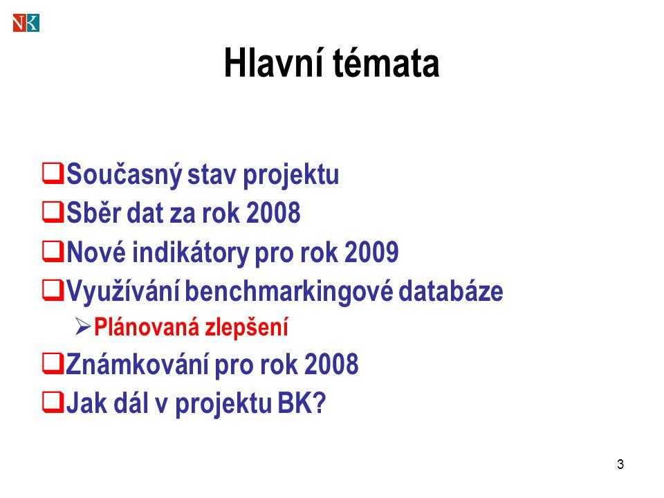 3 Hlavní témata  Současný stav projektu  Sběr dat za rok 2008  Nové indikátory pro rok 2009  Využívání benchmarkingové databáze  Plánovaná zlepše