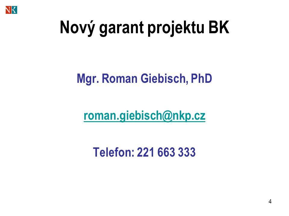 4 Nový garant projektu BK Mgr. Roman Giebisch, PhD roman.giebisch@nkp.cz Telefon: 221 663 333