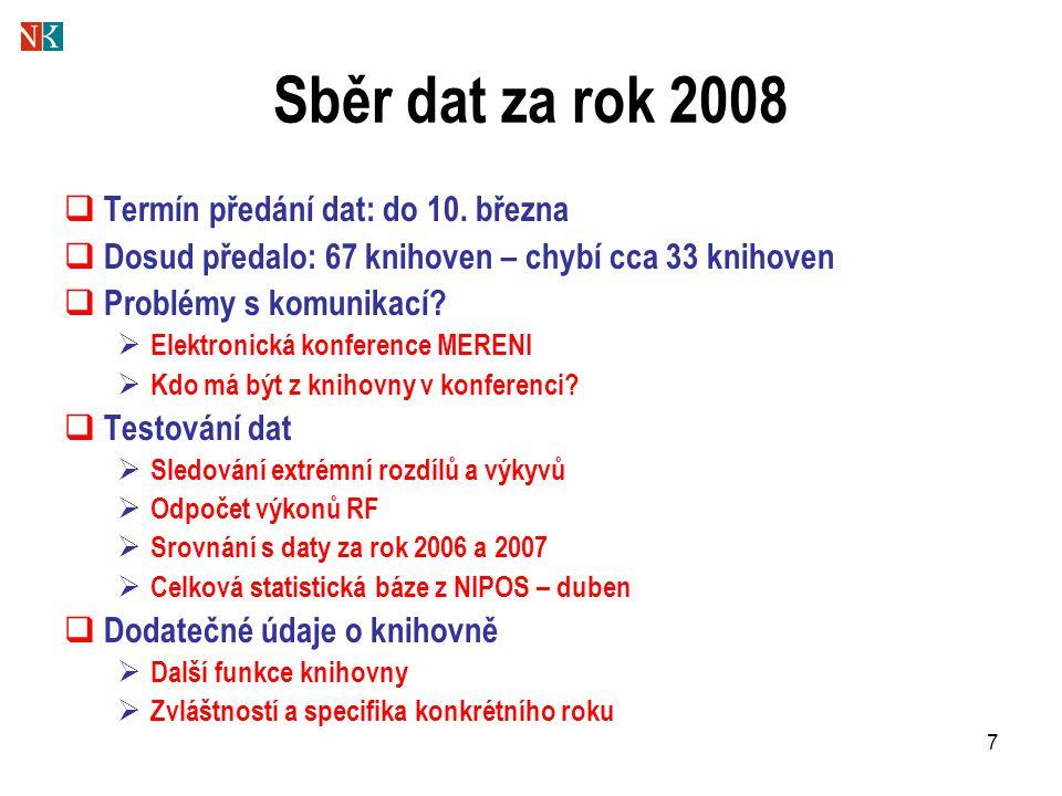 7 Sběr dat za rok 2008  Termín předání dat: do 10. března  Dosud předalo: 67 knihoven – chybí cca 33 knihoven  Problémy s komunikací?  Elektronick