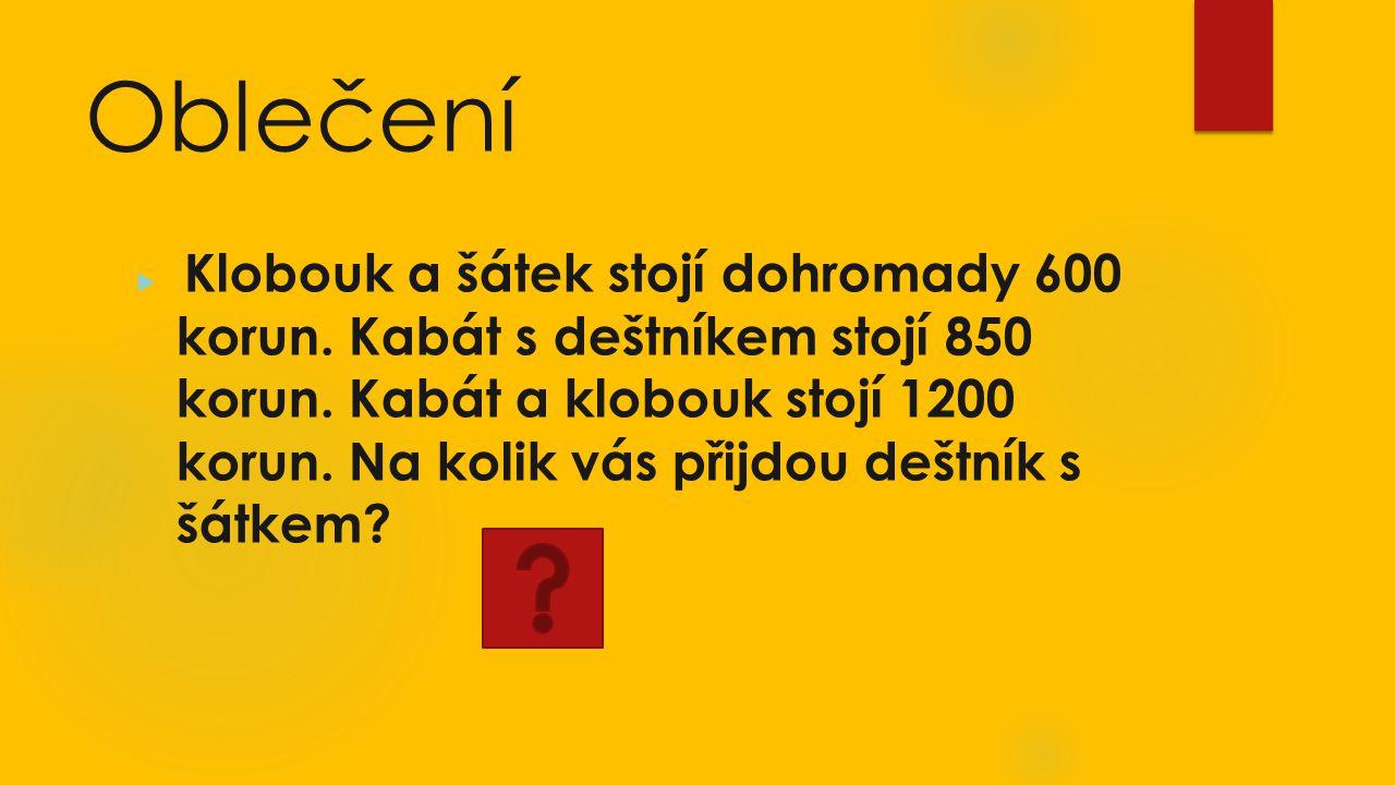 Oblečení  Klobouk a šátek stojí dohromady 600 korun.
