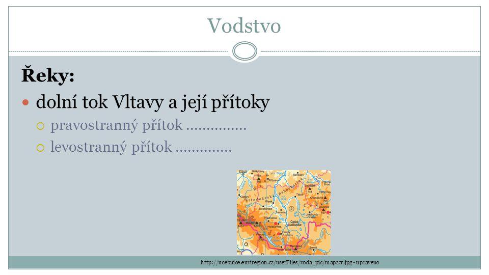 Vodstvo Řeky: dolní tok Vltavy a její přítoky  pravostranný přítok...............  levostranný přítok.............. http://ucebnice.enviregion.cz/us