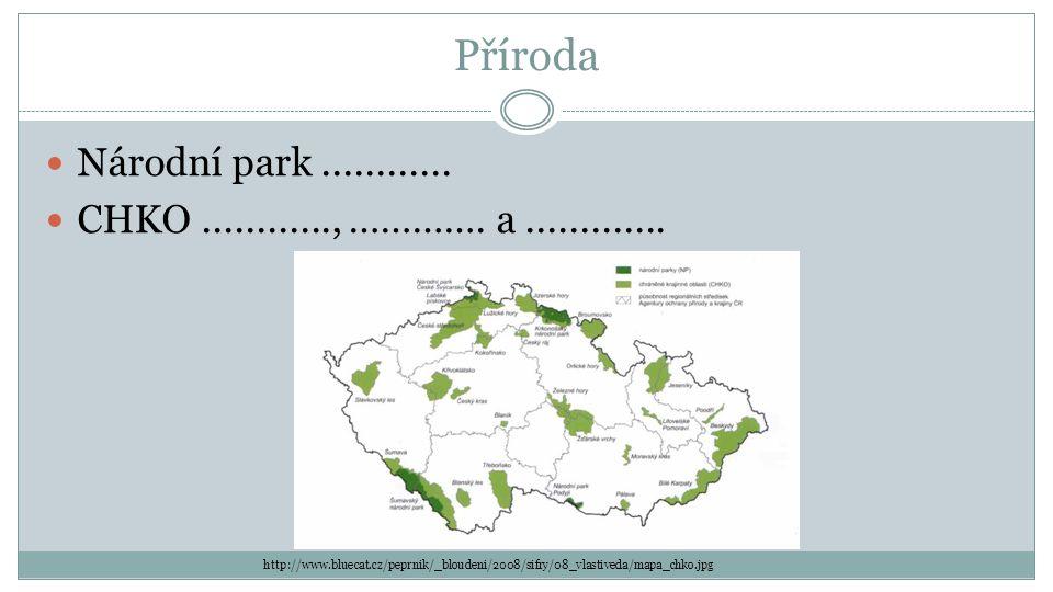 Příroda Národní park............ CHKO............, …………. a............. http://www.bluecat.cz/peprnik/_bloudeni/2008/sifry/08_vlastiveda/mapa_chko.jpg