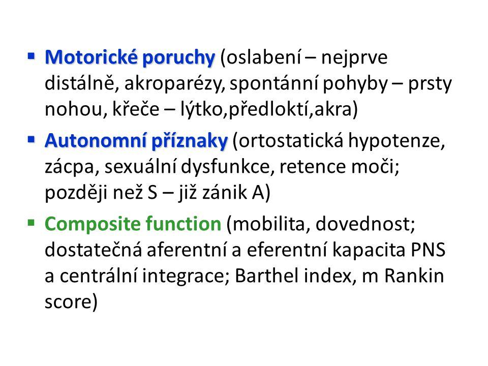  Motorické poruchy  Motorické poruchy (oslabení – nejprve distálně, akroparézy, spontánní pohyby – prsty nohou, křeče – lýtko,předloktí,akra)  Autonomní příznaky  Autonomní příznaky (ortostatická hypotenze, zácpa, sexuální dysfunkce, retence moči; později než S – již zánik A)  Composite function (mobilita, dovednost; dostatečná aferentní a eferentní kapacita PNS a centrální integrace; Barthel index, m Rankin score)