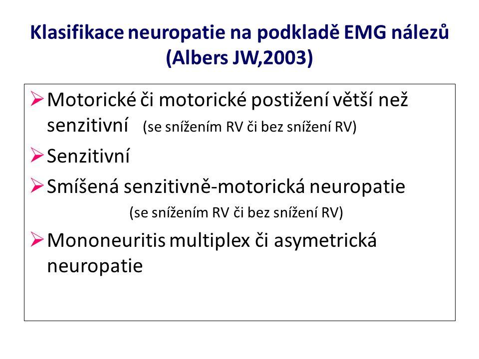Klasifikace neuropatie na podkladě EMG nálezů (Albers JW,2003)  Motorické či motorické postižení větší než senzitivní (se snížením RV či bez snížení RV)  Senzitivní  Smíšená senzitivně-motorická neuropatie (se snížením RV či bez snížení RV)  Mononeuritis multiplex či asymetrická neuropatie