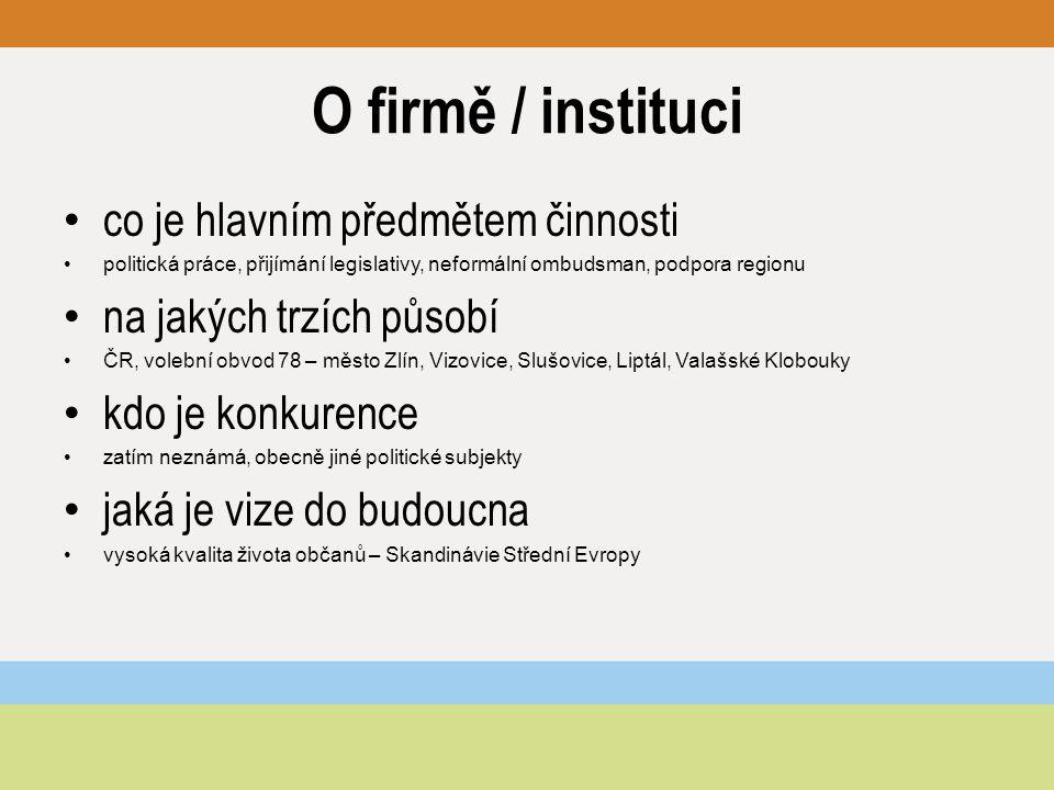 O firmě / instituci co je hlavním předmětem činnosti politická práce, přijímání legislativy, neformální ombudsman, podpora regionu na jakých trzích pů