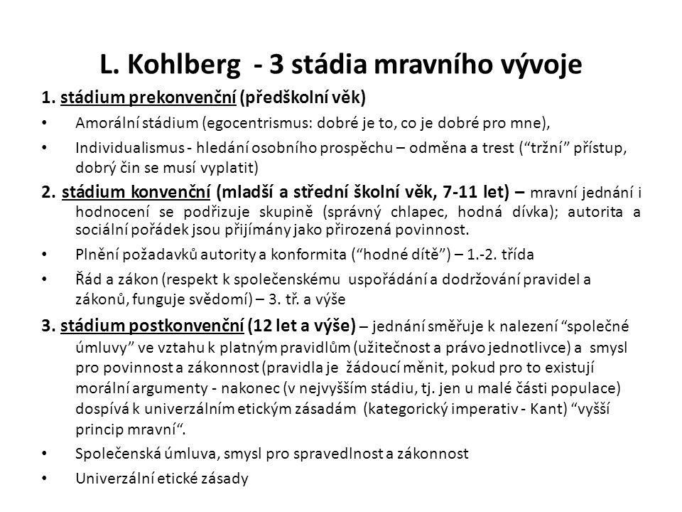L. Kohlberg - 3 stádia mravního vývoje 1. stádium prekonvenční (předškolní věk) Amorální stádium (egocentrismus: dobré je to, co je dobré pro mne), In