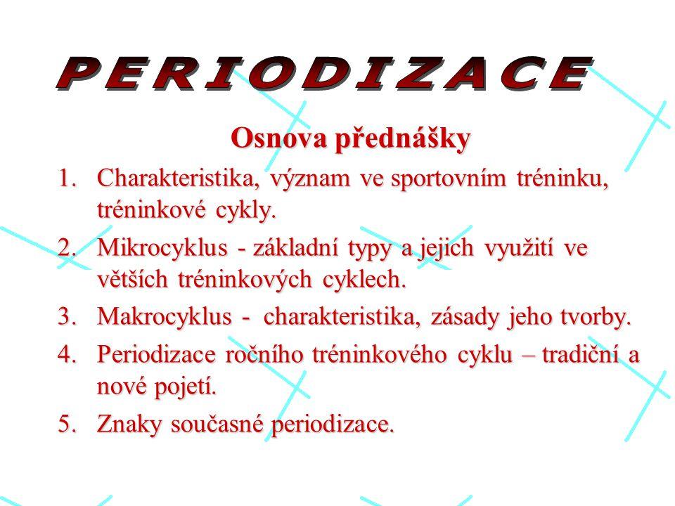Osnova přednášky 1.Charakteristika, význam ve sportovním tréninku, tréninkové cykly.