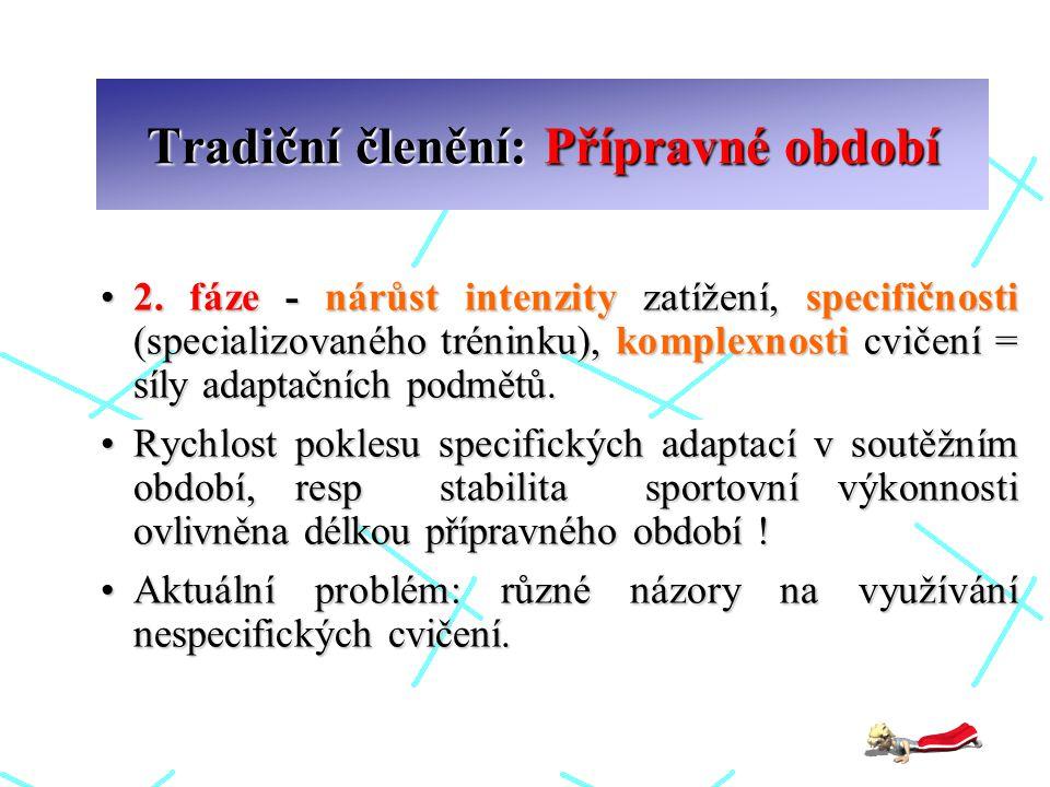 Tradiční členění: Přípravné období 2. fáze - nárůst intenzity zatížení, specifičnosti (specializovaného tréninku), komplexnosti cvičení = síly adaptač