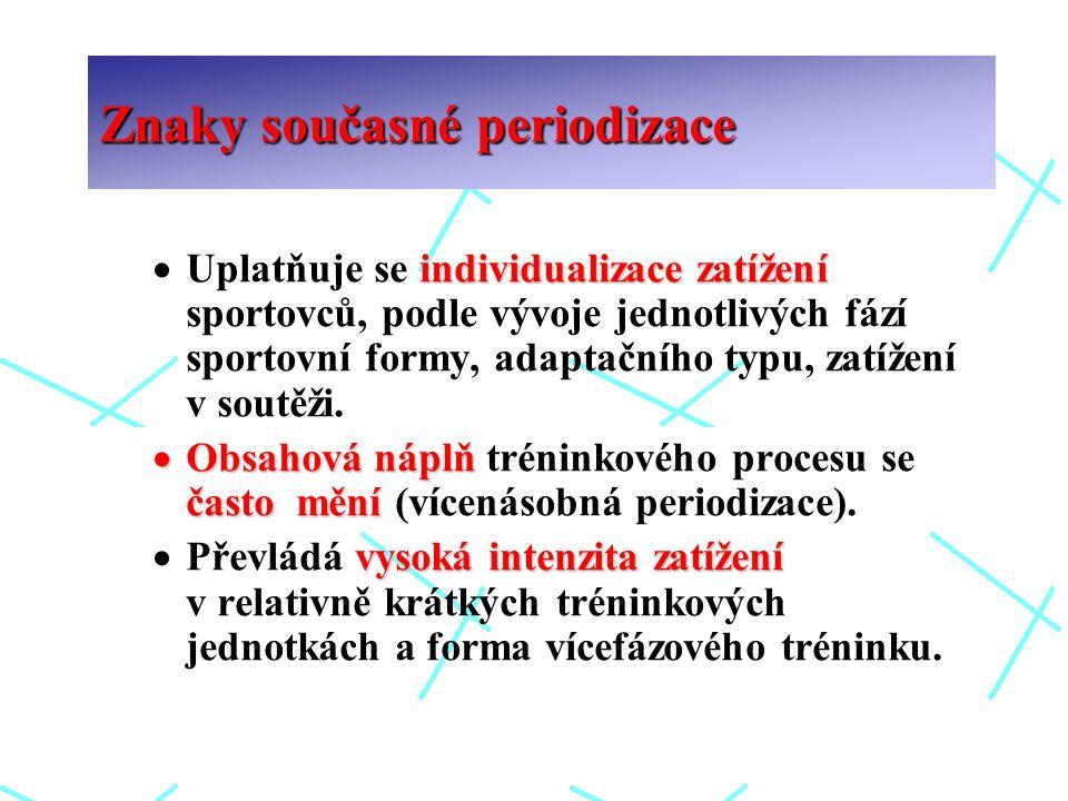 individualizace zatížení  Uplatňuje se individualizace zatížení sportovců, podle vývoje jednotlivých fází sportovní formy, adaptačního typu, zatížení