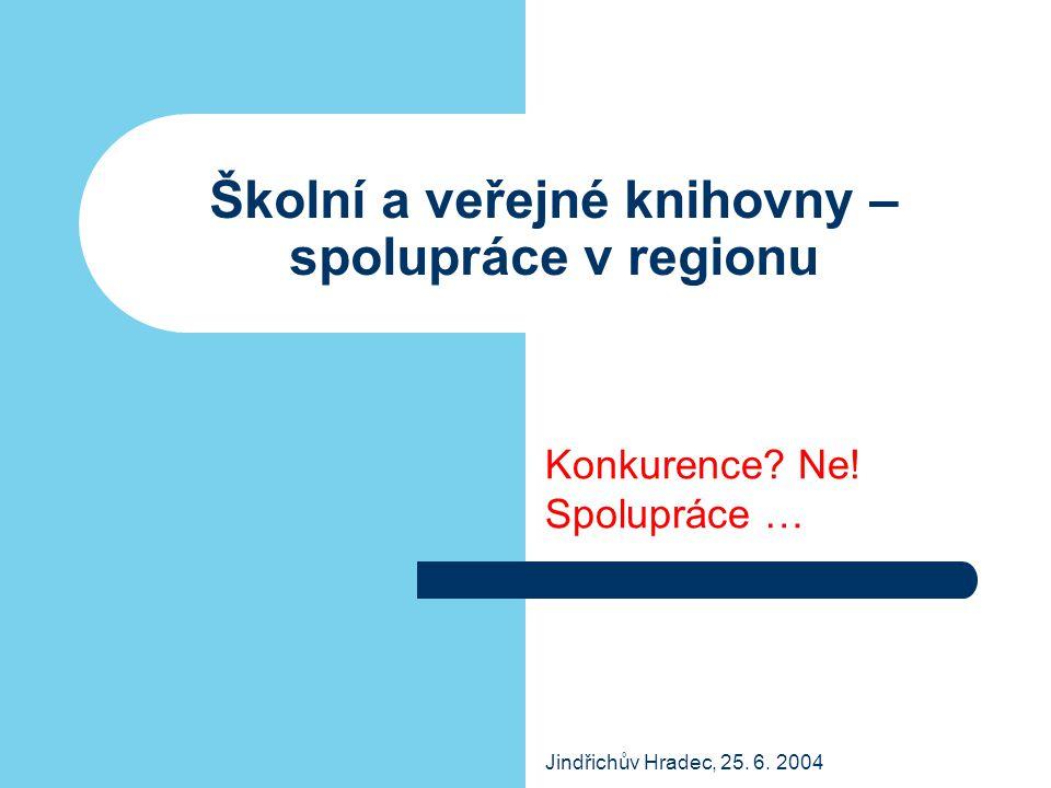 Jindřichův Hradec, 25. 6. 2004 Školní a veřejné knihovny – spolupráce v regionu Konkurence? Ne! Spolupráce …