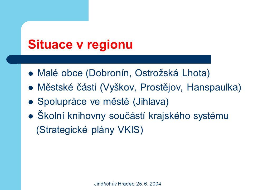 Jindřichův Hradec, 25. 6. 2004 Situace v regionu Malé obce (Dobronín, Ostrožská Lhota) Městské části (Vyškov, Prostějov, Hanspaulka) Spolupráce ve měs
