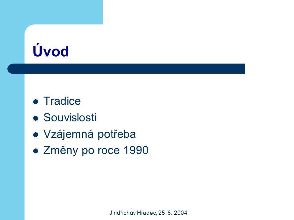 Jindřichův Hradec, 25. 6. 2004 Úvod Tradice Souvislosti Vzájemná potřeba Změny po roce 1990