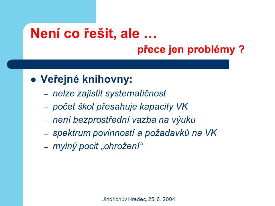 Jindřichův Hradec, 25. 6. 2004 Není co řešit, ale … přece jen problémy ? Veřejné knihovny: – nelze zajistit systematičnost – počet škol přesahuje kapa