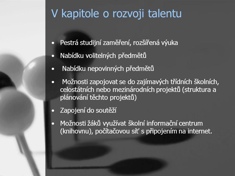 V kapitole o rozvoji talentu Pestrá studijní zaměření, rozšířená výuka Nabídku volitelných předmětů Nabídku nepovinných předmětů Možnosti zapojovat se