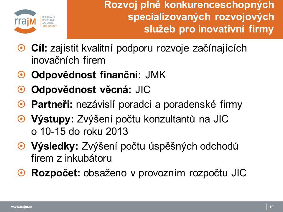 www.rrajm.cz 19 Rozvoj plně konkurenceschopných specializovaných rozvojových služeb pro inovativní firmy  Cíl: zajistit kvalitní podporu rozvoje začí