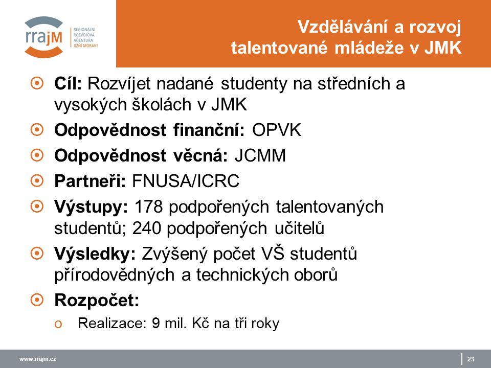 www.rrajm.cz 23 Vzdělávání a rozvoj talentované mládeže v JMK  Cíl: Rozvíjet nadané studenty na středních a vysokých školách v JMK  Odpovědnost finanční: OPVK  Odpovědnost věcná: JCMM  Partneři: FNUSA/ICRC  Výstupy: 178 podpořených talentovaných studentů; 240 podpořených učitelů  Výsledky: Zvýšený počet VŠ studentů přírodovědných a technických oborů  Rozpočet: oRealizace: 9 mil.