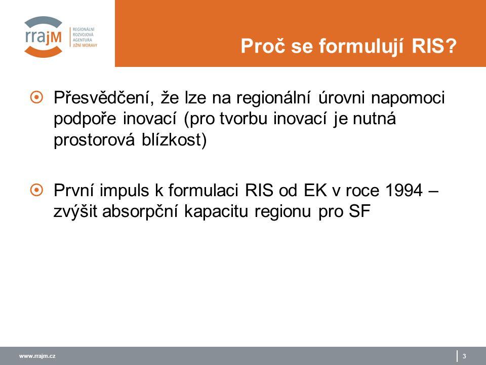 www.rrajm.cz 3 Proč se formulují RIS?  Přesvědčení, že lze na regionální úrovni napomoci podpoře inovací (pro tvorbu inovací je nutná prostorová blíz