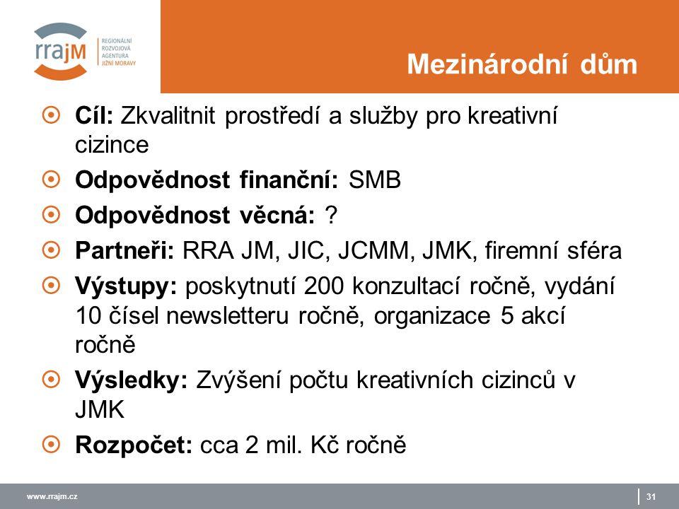 www.rrajm.cz 31 Mezinárodní dům  Cíl: Zkvalitnit prostředí a služby pro kreativní cizince  Odpovědnost finanční: SMB  Odpovědnost věcná: ?  Partne