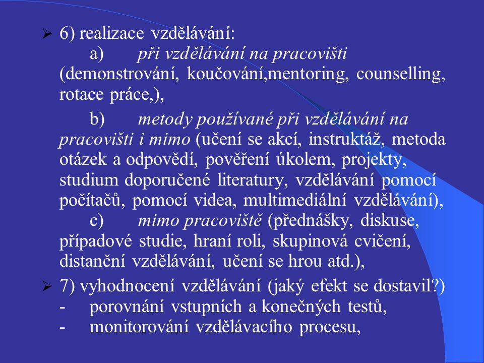  6) realizace vzdělávání: a)při vzdělávání na pracovišti (demonstrování, koučování,mentoring, counselling, rotace práce,), b)metody používané při vzdělávání na pracovišti i mimo (učení se akcí, instruktáž, metoda otázek a odpovědí, pověření úkolem, projekty, studium doporučené literatury, vzdělávání pomocí počítačů, pomocí videa, multimediální vzdělávání), c)mimo pracoviště (přednášky, diskuse, případové studie, hraní roli, skupinová cvičení, distanční vzdělávání, učení se hrou atd.),  7) vyhodnocení vzdělávání (jaký efekt se dostavil?) -porovnání vstupních a konečných testů, -monitorování vzdělávacího procesu,