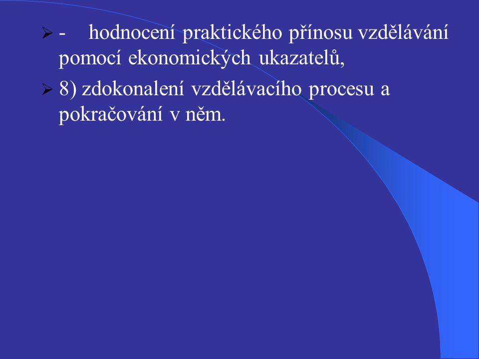  -hodnocení praktického přínosu vzdělávání pomocí ekonomických ukazatelů,  8) zdokonalení vzdělávacího procesu a pokračování v něm.