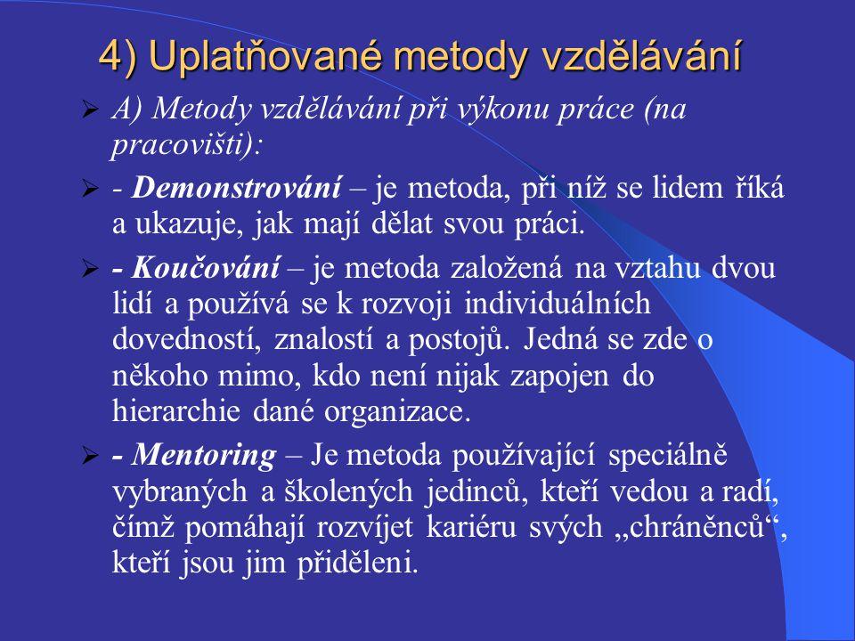 4 ) Uplatňované metody vzdělávání  A) Metody vzdělávání při výkonu práce (na pracovišti):  - Demonstrování – je metoda, při níž se lidem říká a ukaz