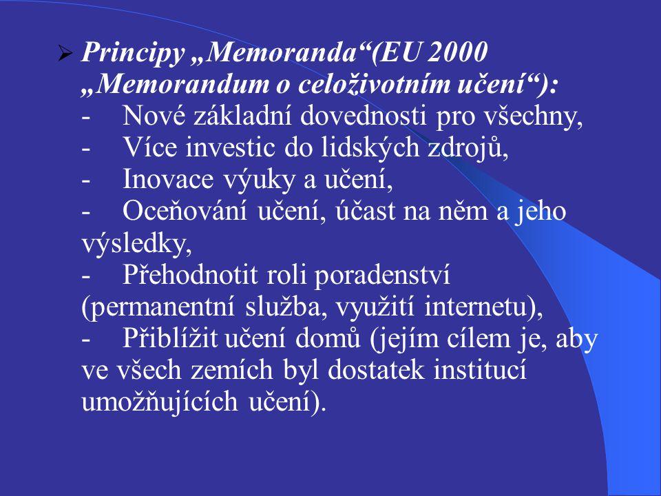 """ Principy """"Memoranda (EU 2000 """"Memorandum o celoživotním učení ): -Nové základní dovednosti pro všechny, -Více investic do lidských zdrojů, -Inovace výuky a učení, -Oceňování učení, účast na něm a jeho výsledky, -Přehodnotit roli poradenství (permanentní služba, využití internetu), -Přiblížit učení domů (jejím cílem je, aby ve všech zemích byl dostatek institucí umožňujících učení)."""