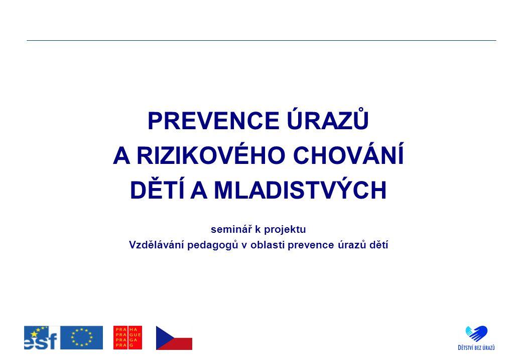PREVENCE ÚRAZŮ A RIZIKOVÉHO CHOVÁNÍ DĚTÍ A MLADISTVÝCH seminář k projektu Vzdělávání pedagogů v oblasti prevence úrazů dětí