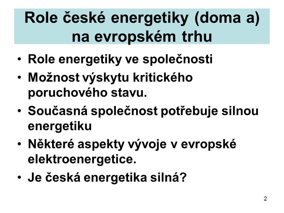 2 Role české energetiky (doma a) na evropském trhu Role energetiky ve společnosti Možnost výskytu kritického poruchového stavu.