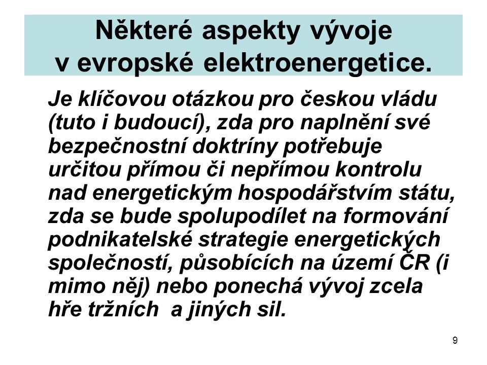 9 Některé aspekty vývoje v evropské elektroenergetice.