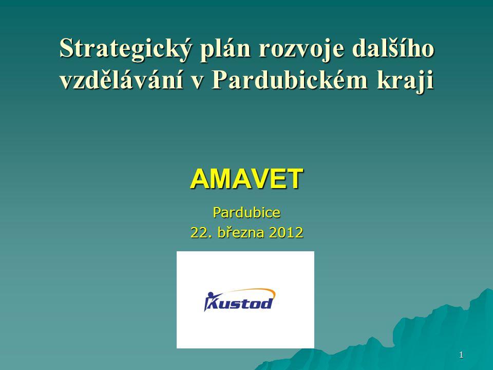 Strategický plán rozvoje dalšího vzdělávání v Pardubickém kraji AMAVET Pardubice 22. března 2012 1
