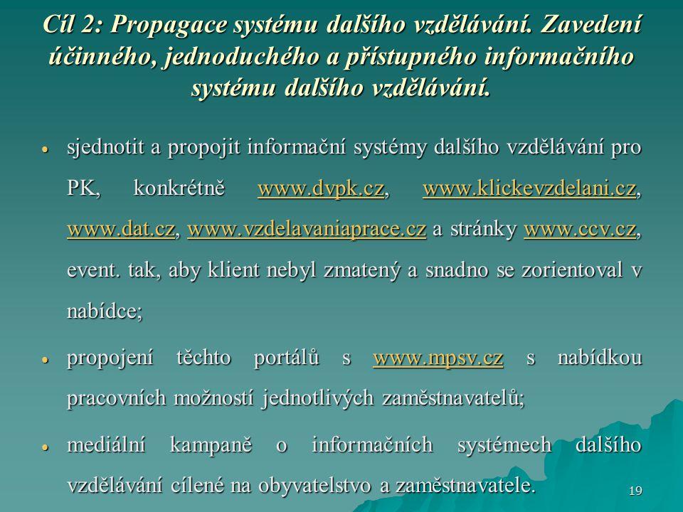Cíl 2:Propagace systému dalšího vzdělávání.