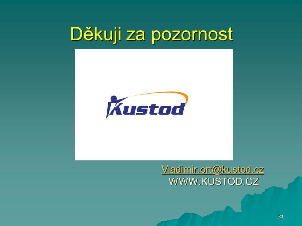 Děkuji za pozornost Vladimir.ort@kustod.cz WWW.KUSTOD.CZ Vladimir.ort@kustod.cz 31