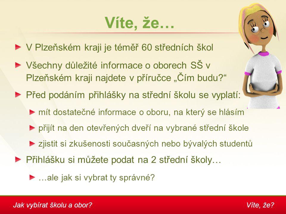 """Víte, že? Víte, že… V Plzeňském kraji je téměř 60 středních škol Všechny důležité informace o oborech SŠ v Plzeňském kraji najdete v příručce """"Čím bud"""