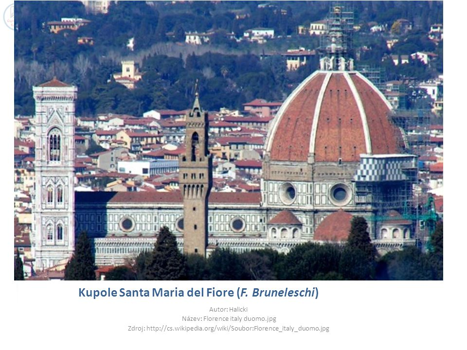 Kupole Santa Maria del Fiore (F. Bruneleschi) Autor: Halicki Název: Florence italy duomo.jpg Zdroj: http://cs.wikipedia.org/wiki/Soubor:Florence_italy