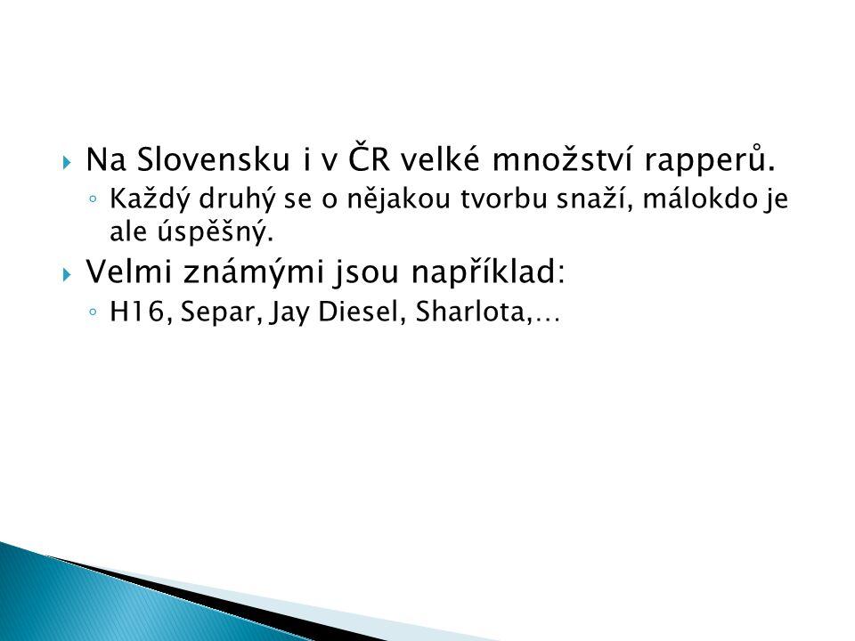  Na Slovensku i v ČR velké množství rapperů. ◦ Každý druhý se o nějakou tvorbu snaží, málokdo je ale úspěšný.  Velmi známými jsou například: ◦ H16,