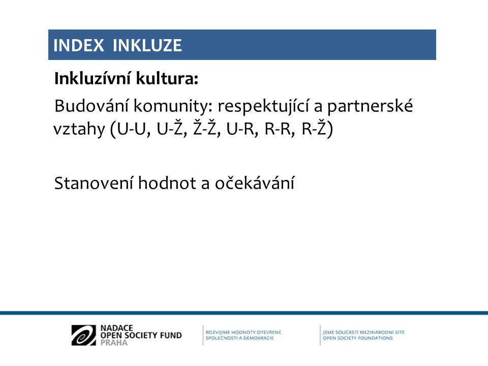 Inkluzívní kultura: Budování komunity: respektující a partnerské vztahy (U-U, U-Ž, Ž-Ž, U-R, R-R, R-Ž) Stanovení hodnot a očekávání INDEX INKLUZE