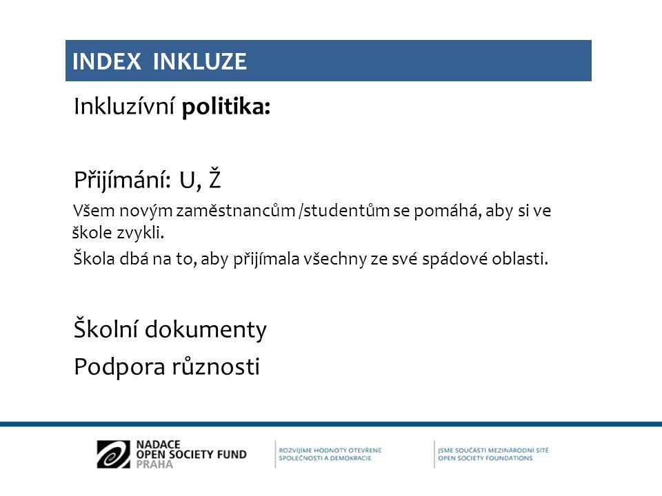 Inkluzívní politika: Přijímání: U, Ž Všem novým zaměstnancům /studentům se pomáhá, aby si ve škole zvykli.
