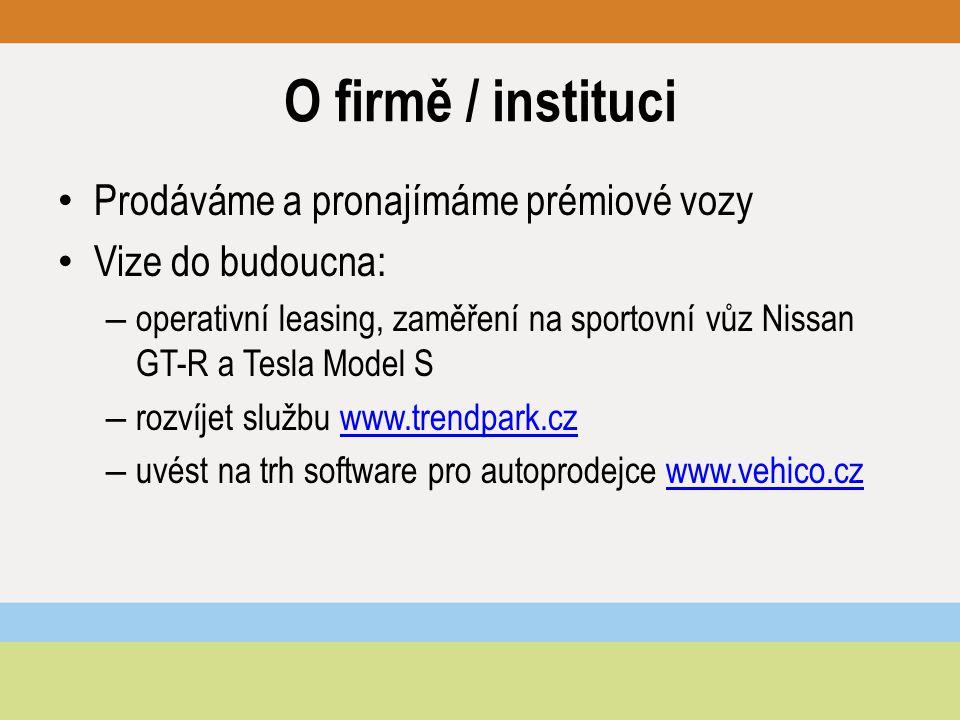 """Představení produktu / služby Pronájem vozu Tesla Model S: – Tesla """"na víkend : PÁ 14.00 – PO 10.00 / 20 000 Kč / 1000 km – Tesla """"do práce : PO 14.00 – PÁ 10.00 / 25 000 Kč / 1500 km – Tesla """"na týden : PO 14.00 – PO 10.00 / 39 000 Kč / 2500 km – Tesla na delší období: cena na dotaz – Možnost přistavit vůz kamkoliv po ČR za 9,50 Kč/km – rezervace online – tento vůz nabízíme k pronájmu jako jediní v ČR – Dokážeme zprostředovat koupi vozu ve Vídni + plánujeme operativní leasing + založení Tesla klubu – fórum, poradenství..."""