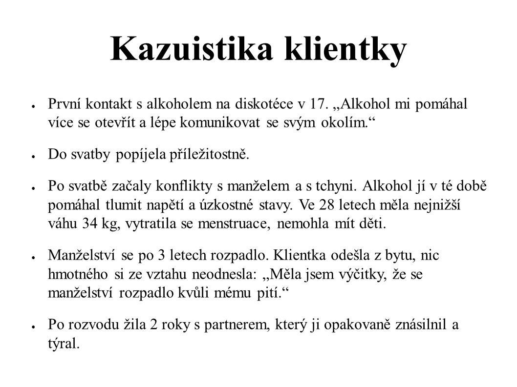 """Kazuistika klientky ● První kontakt s alkoholem na diskotéce v 17. """"Alkohol mi pomáhal více se otevřít a lépe komunikovat se svým okolím."""" ● Do svatby"""