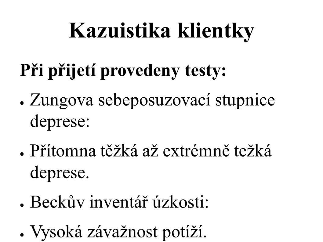 Kazuistika klientky Při přijetí provedeny testy: ● Zungova sebeposuzovací stupnice deprese: ● Přítomna těžká až extrémně težká deprese. ● Beckův inven