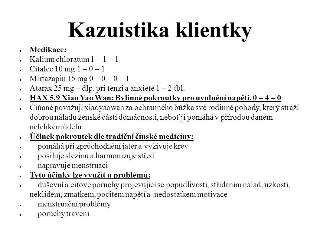 Kazuistika klientky ● Medikace: ● Kalium chloratum 1 – 1 – 1 ● Citalec 10 mg 1 – 0 – 1 ● Mirtazapin 15 mg 0 – 0 – 0 – 1 ● Atarax 25 mg – dlp. při tenz