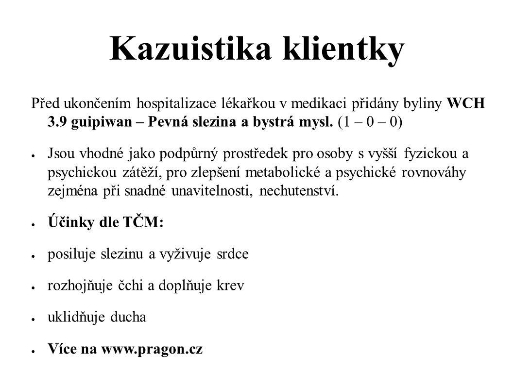 Kazuistika klientky Před ukončením hospitalizace lékařkou v medikaci přidány byliny WCH 3.9 guipiwan – Pevná slezina a bystrá mysl. (1 – 0 – 0) ● Jsou