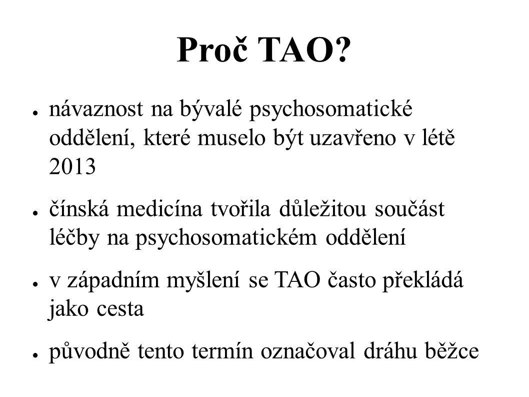 Proč TAO? ● návaznost na bývalé psychosomatické oddělení, které muselo být uzavřeno v létě 2013 ● čínská medicína tvořila důležitou součást léčby na p