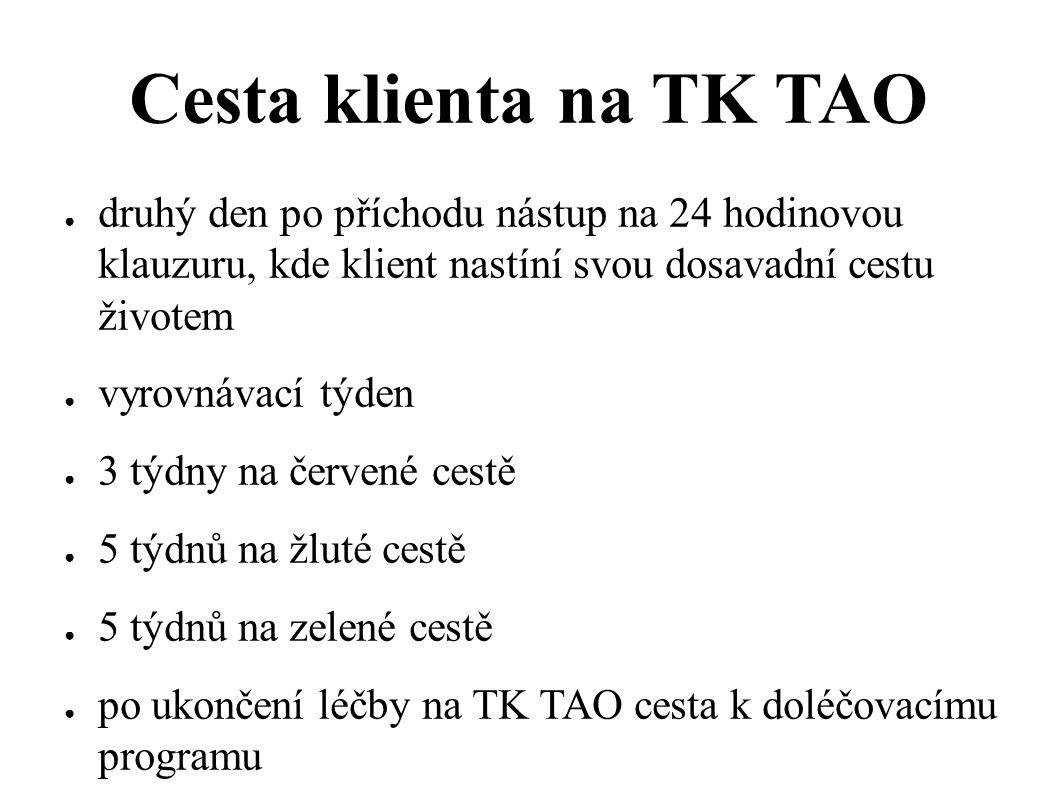 Cesta klienta na TK TAO ● druhý den po příchodu nástup na 24 hodinovou klauzuru, kde klient nastíní svou dosavadní cestu životem ● vyrovnávací týden ●