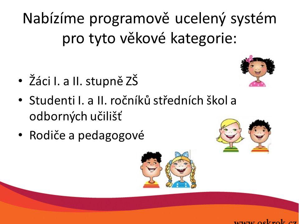 Nabízíme programově ucelený systém pro tyto věkové kategorie: Žáci I. a II. stupně ZŠ Studenti I. a II. ročníků středních škol a odborných učilišť Rod