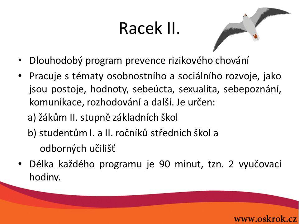 Racek II. Dlouhodobý program prevence rizikového chování Pracuje s tématy osobnostního a sociálního rozvoje, jako jsou postoje, hodnoty, sebeúcta, sex