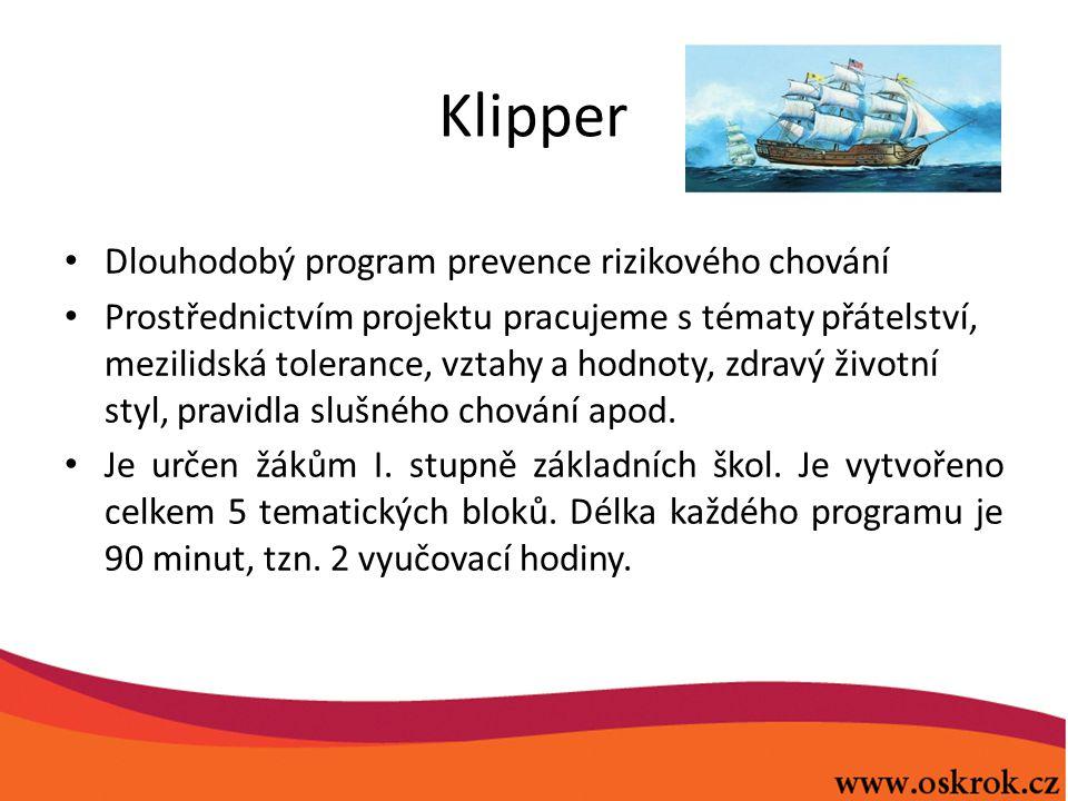 Klipper Dlouhodobý program prevence rizikového chování Prostřednictvím projektu pracujeme s tématy přátelství, mezilidská tolerance, vztahy a hodnoty, zdravý životní styl, pravidla slušného chování apod.